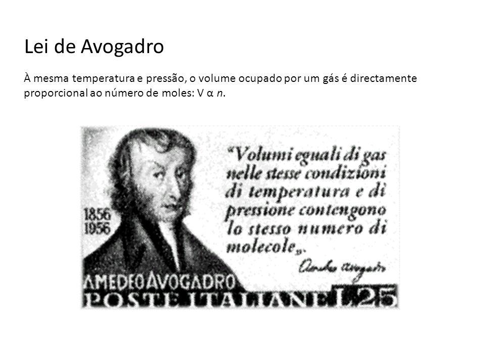 Lei de Avogadro À mesma temperatura e pressão, o volume ocupado por um gás é directamente proporcional ao número de moles: V α n.