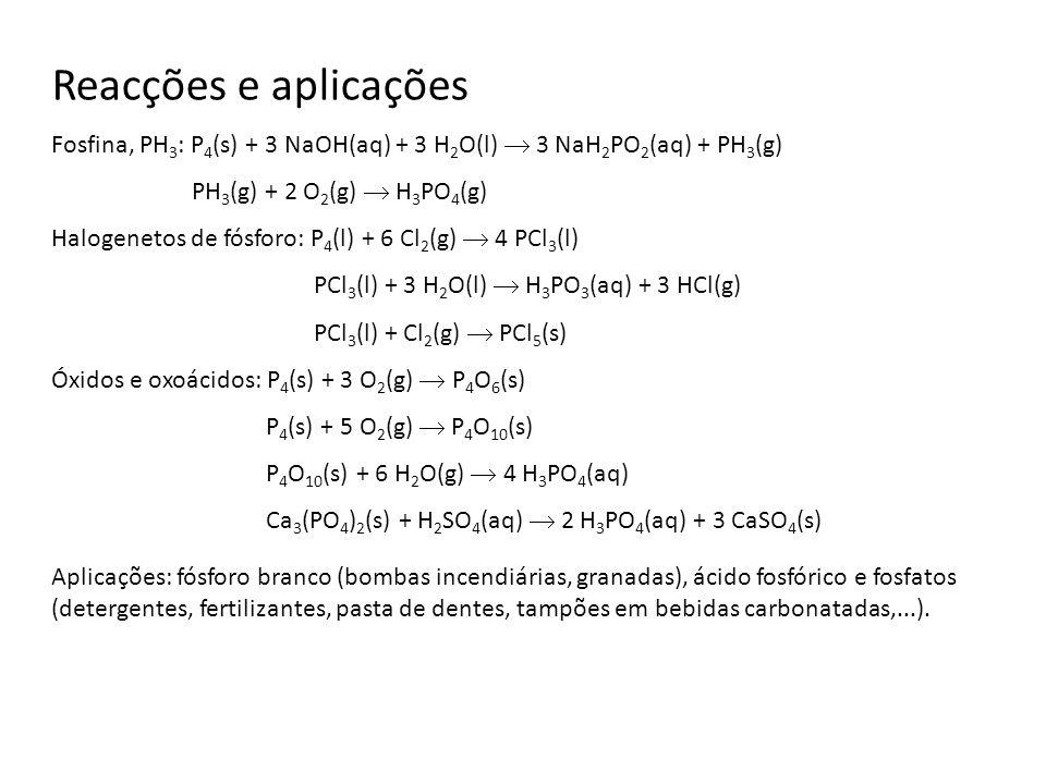 Reacções e aplicações Fosfina, PH3: P4(s) + 3 NaOH(aq) + 3 H2O(l)  3 NaH2PO2(aq) + PH3(g) PH3(g) + 2 O2(g)  H3PO4(g)