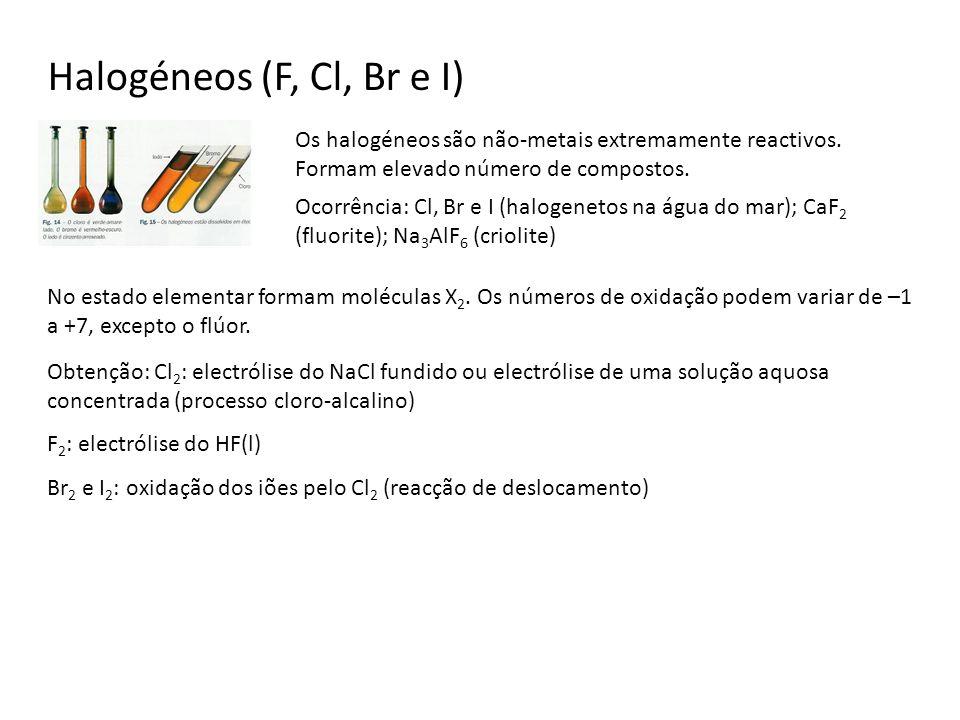 Halogéneos (F, Cl, Br e I) Os halogéneos são não-metais extremamente reactivos. Formam elevado número de compostos.