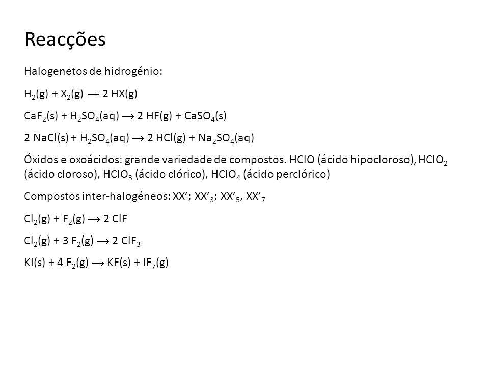 Reacções Halogenetos de hidrogénio: H2(g) + X2(g)  2 HX(g)
