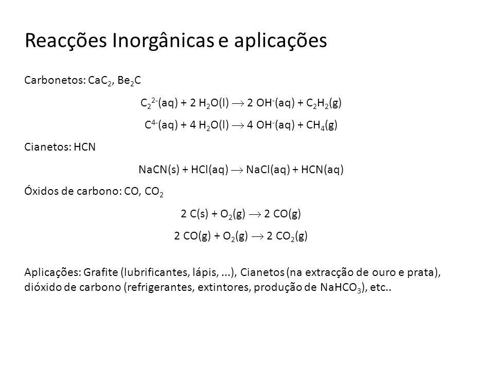 Reacções Inorgânicas e aplicações