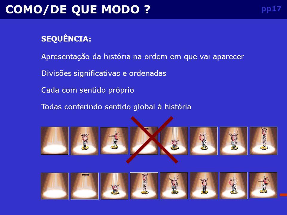 COMO/DE QUE MODO pp17 SEQUÊNCIA: