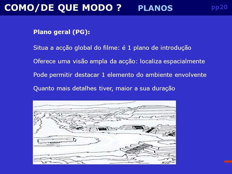 COMO/DE QUE MODO PLANOS pp20 Plano geral (PG):
