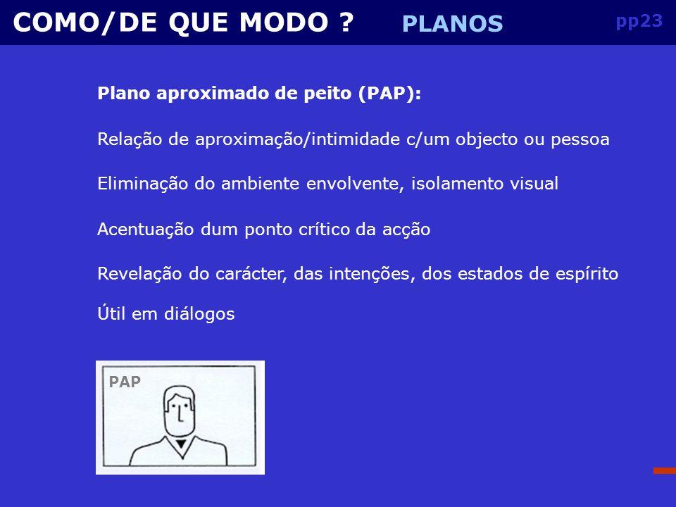 COMO/DE QUE MODO PLANOS pp23 Plano aproximado de peito (PAP):