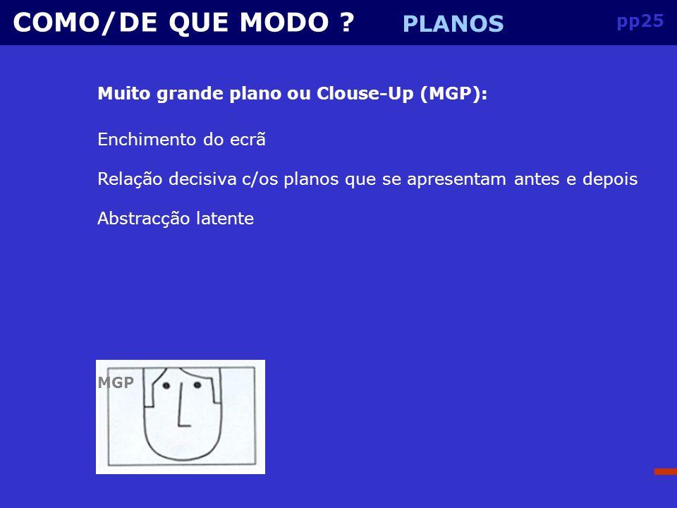 COMO/DE QUE MODO PLANOS pp25 Muito grande plano ou Clouse-Up (MGP):