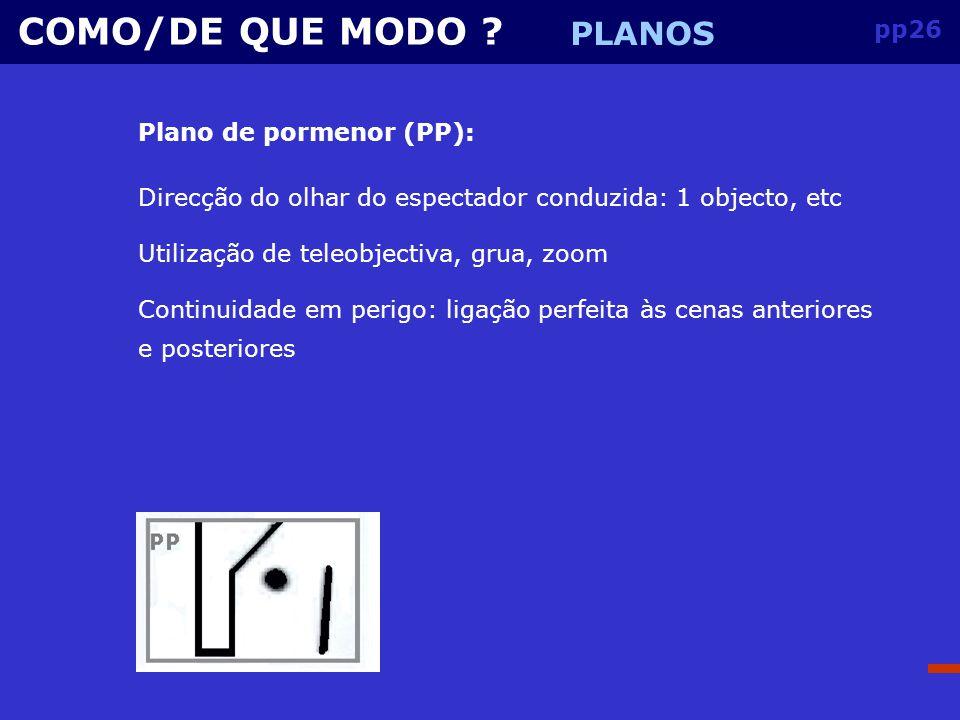 COMO/DE QUE MODO PLANOS pp26 Plano de pormenor (PP):