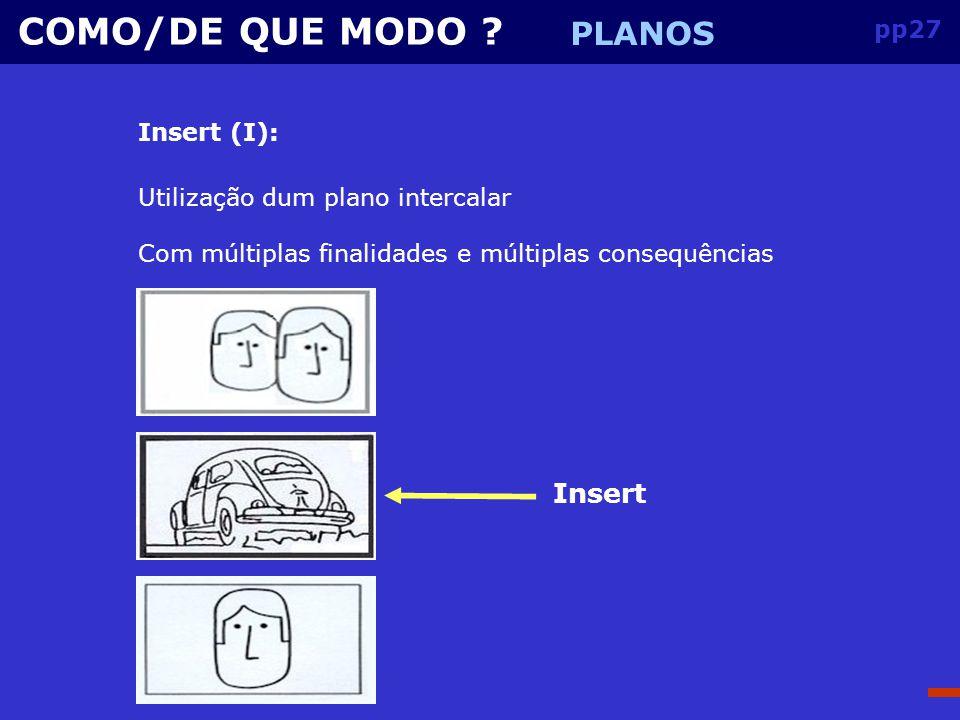 COMO/DE QUE MODO PLANOS Insert pp27 Insert (I):