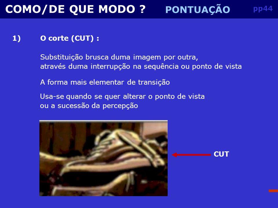 COMO/DE QUE MODO PONTUAÇÃO pp44 1) O corte (CUT) :