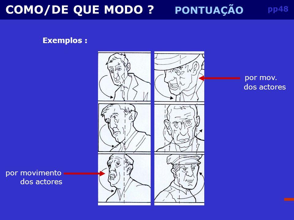 COMO/DE QUE MODO PONTUAÇÃO pp48 Exemplos : por mov. dos actores