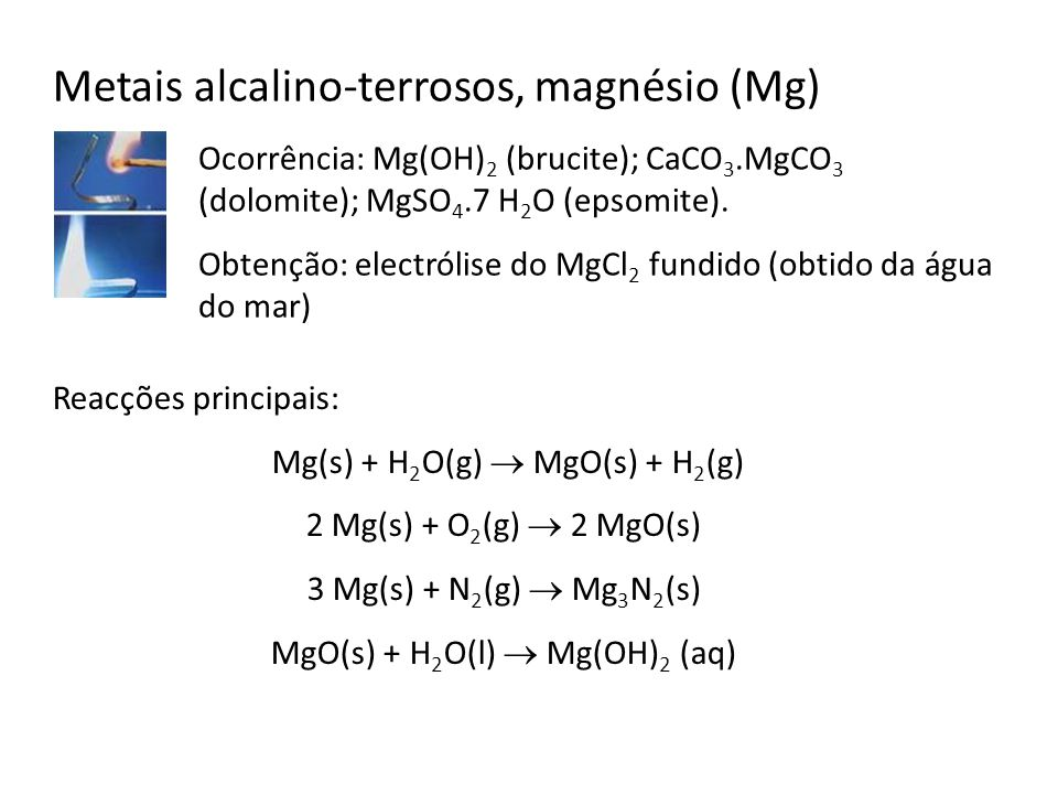 Metais alcalino-terrosos, magnésio (Mg)