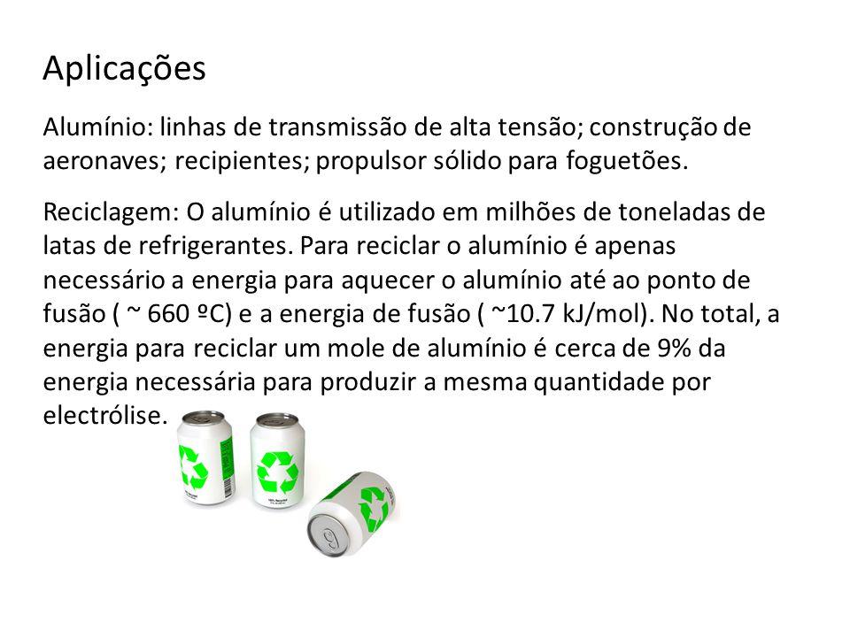 Aplicações Alumínio: linhas de transmissão de alta tensão; construção de aeronaves; recipientes; propulsor sólido para foguetões.