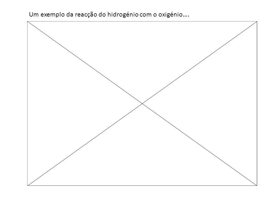 Um exemplo da reacção do hidrogénio com o oxigénio….