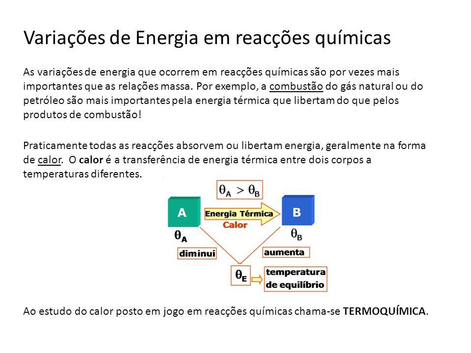 Variações de Energia em reacções químicas