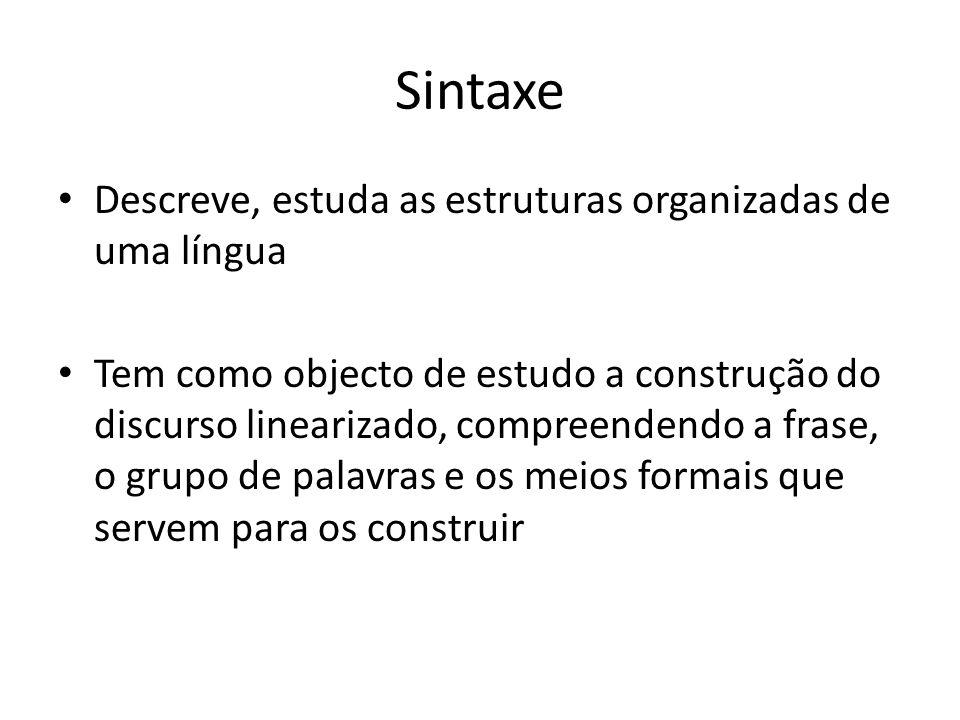 Sintaxe Descreve, estuda as estruturas organizadas de uma língua
