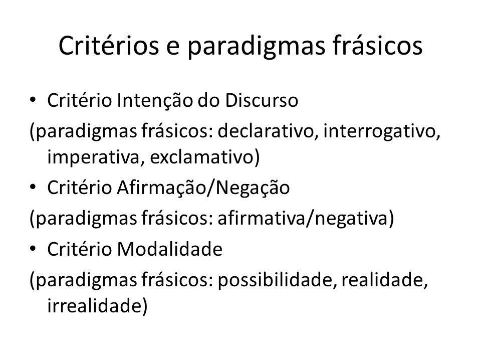 Critérios e paradigmas frásicos