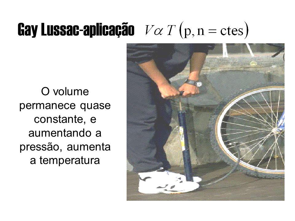 Gay Lussac-aplicação O volume permanece quase constante, e aumentando a pressão, aumenta a temperatura.