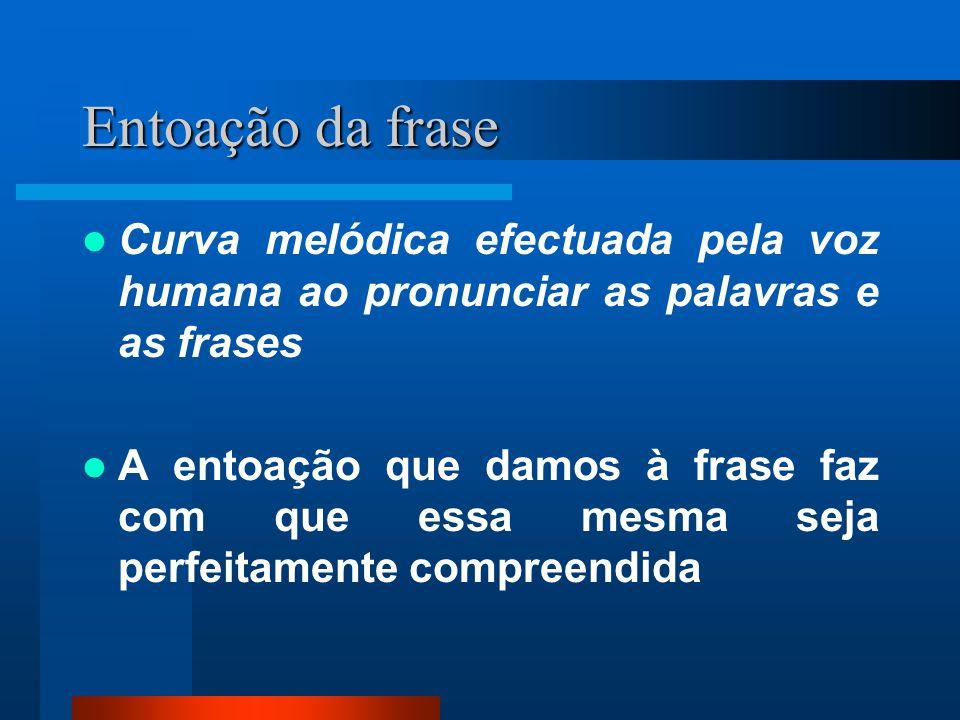 Entoação da frase Curva melódica efectuada pela voz humana ao pronunciar as palavras e as frases.