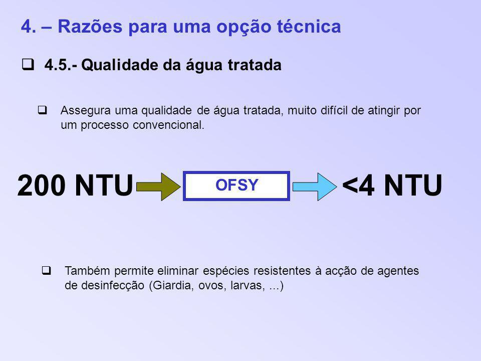 200 NTU <4 NTU 4. – Razões para uma opção técnica