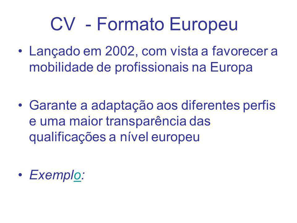 CV - Formato Europeu Lançado em 2002, com vista a favorecer a mobilidade de profissionais na Europa.