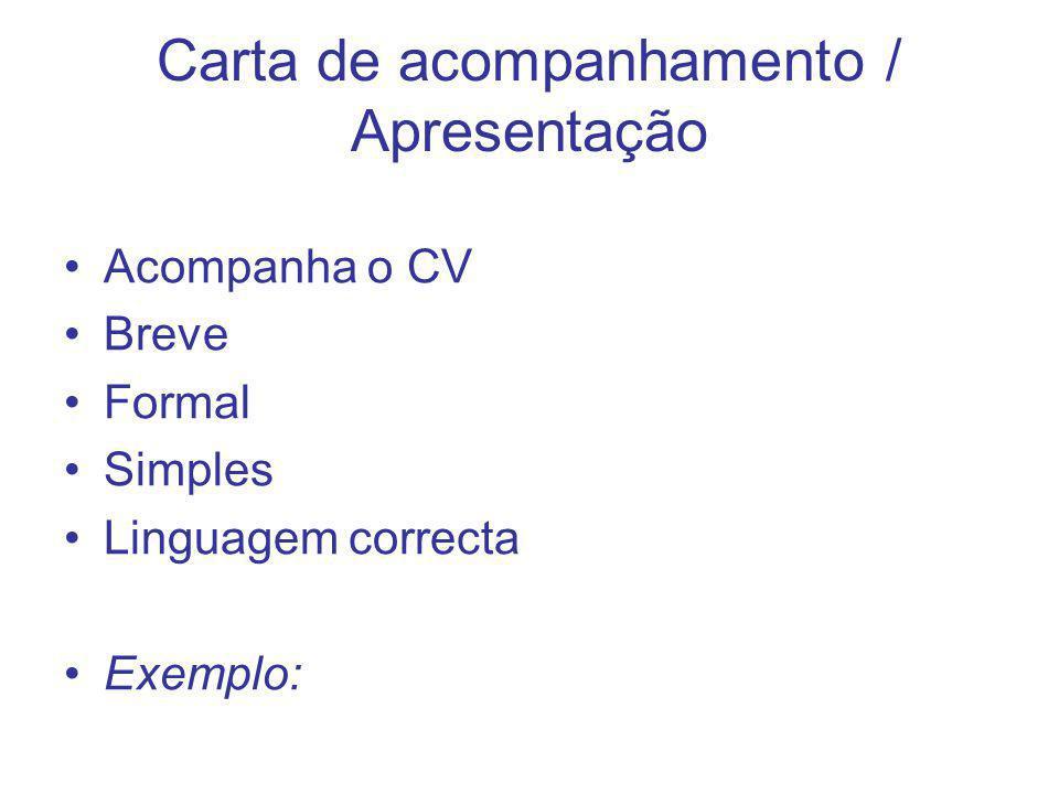 Carta de acompanhamento / Apresentação