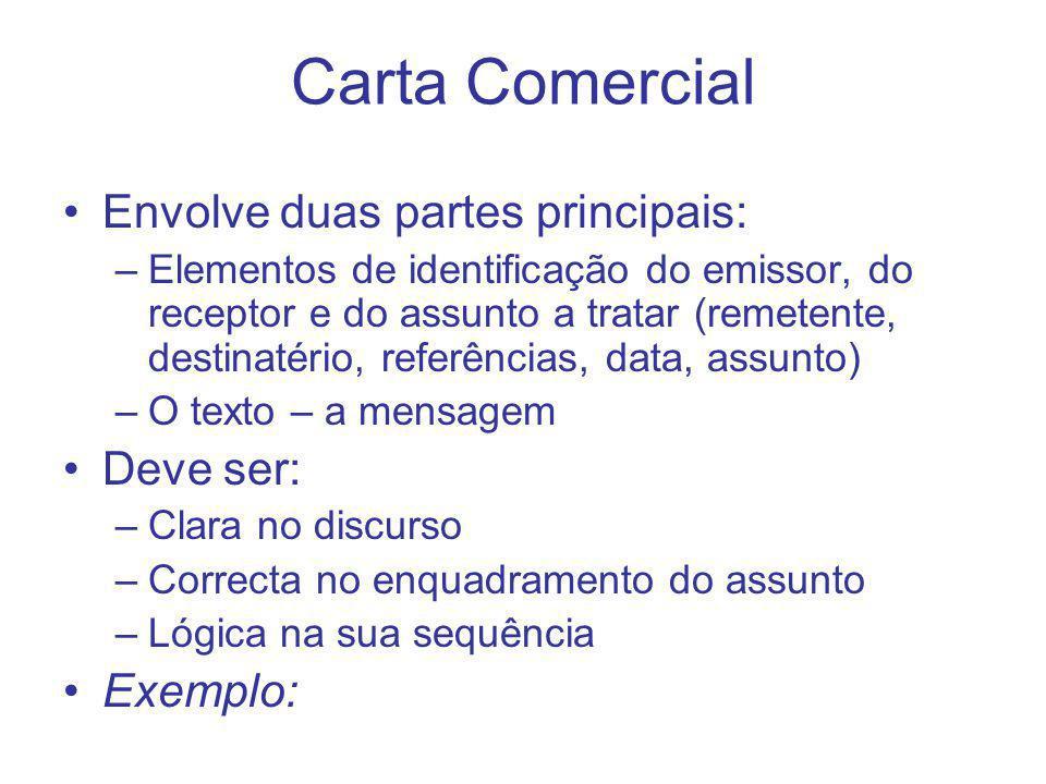 Carta Comercial Envolve duas partes principais: Deve ser: Exemplo: