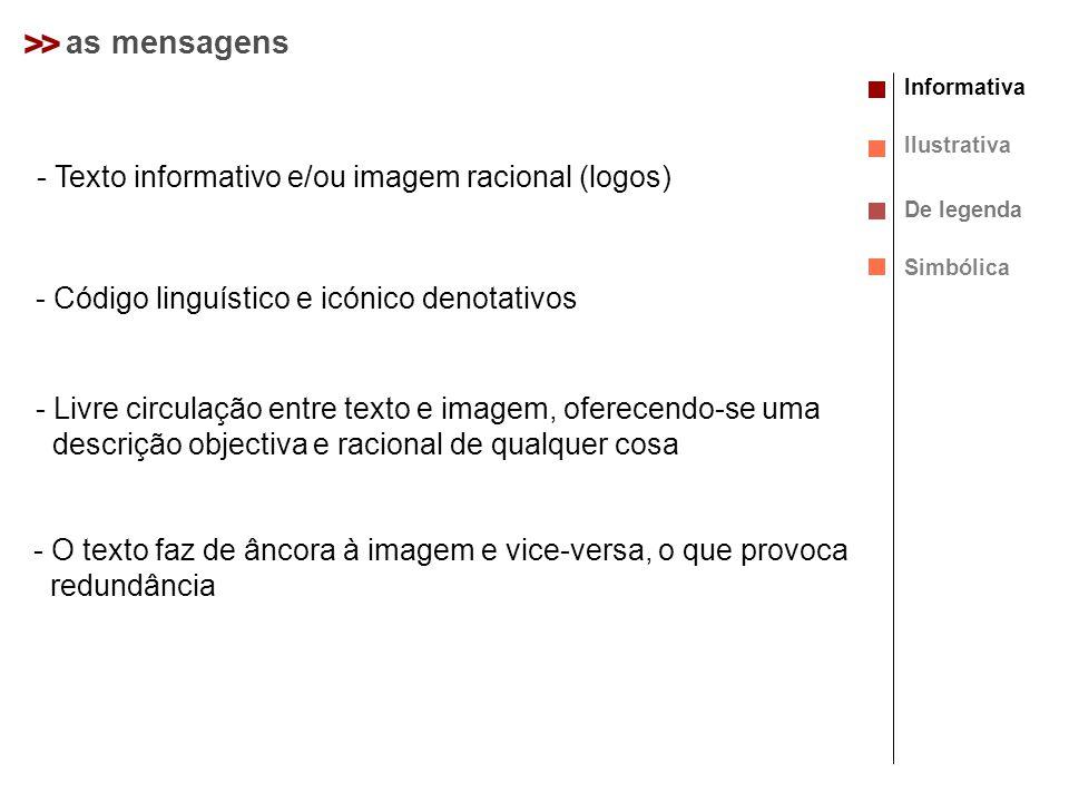> > as mensagens Texto informativo e/ou imagem racional (logos)
