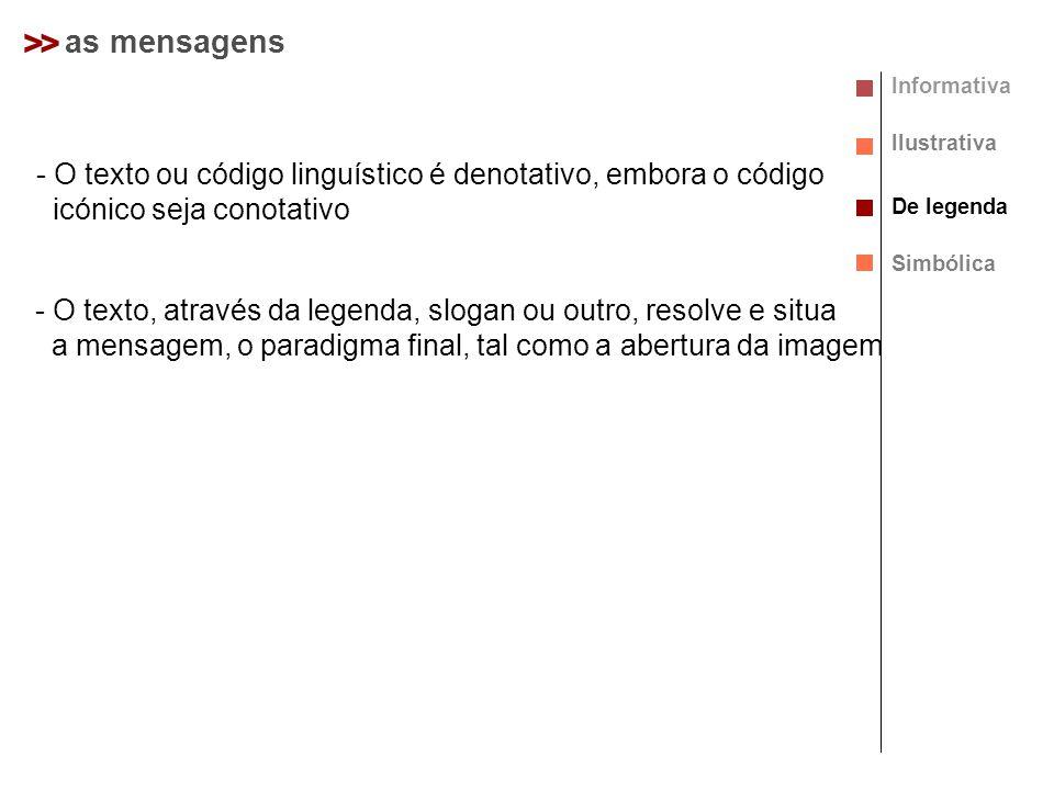 > > as mensagens. Informativa. Ilustrativa. O texto ou código linguístico é denotativo, embora o código.