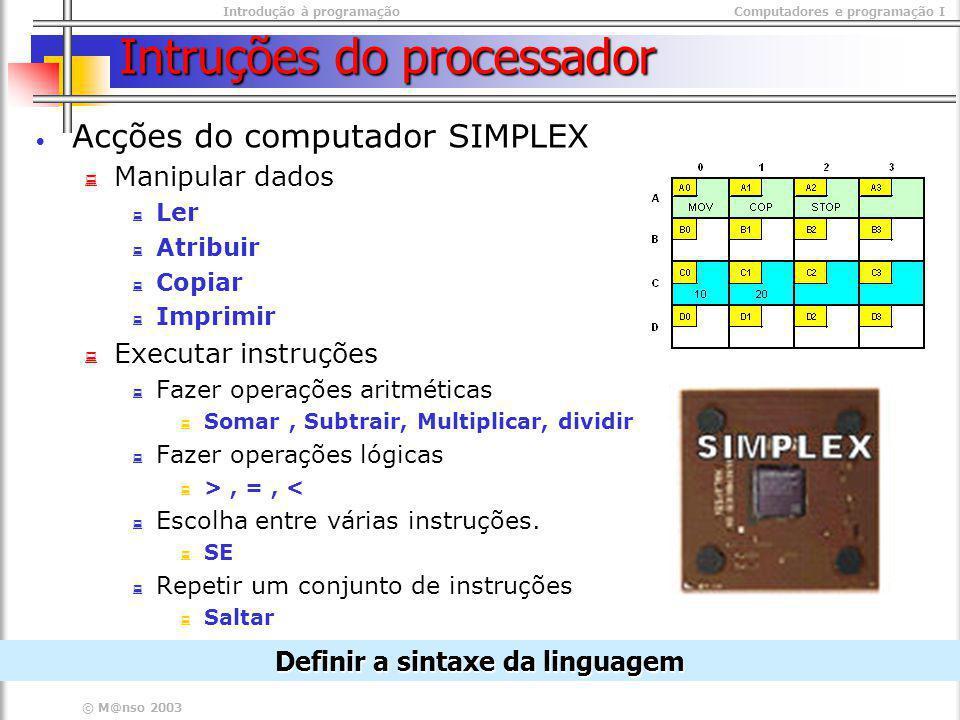 Intruções do processador