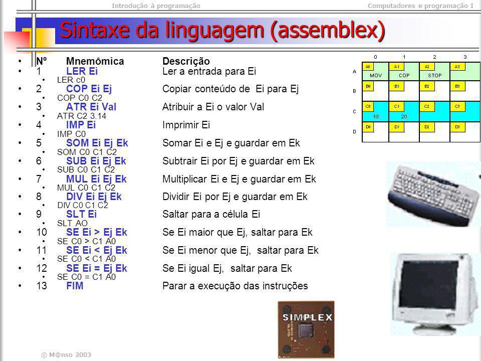 Sintaxe da linguagem (assemblex)