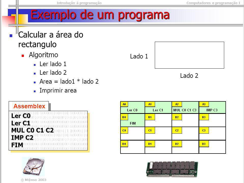 Exemplo de um programa Calcular a área do rectangulo Algoritmo
