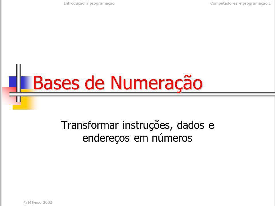 Transformar instruções, dados e endereços em números