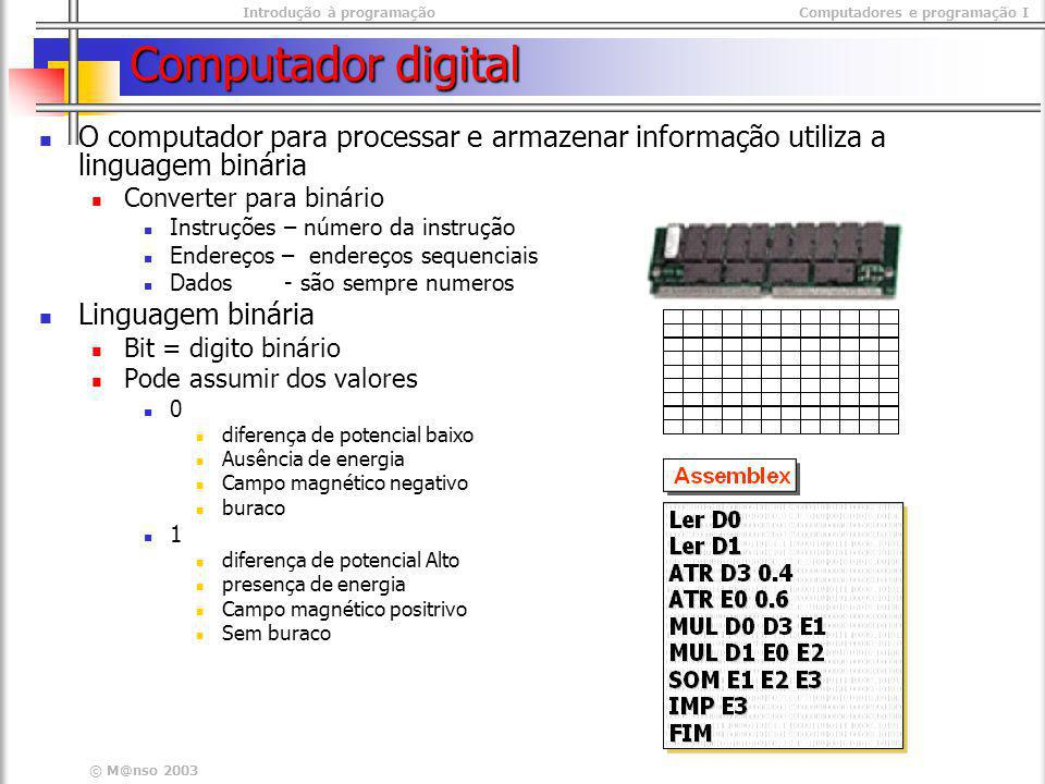Computador digital O computador para processar e armazenar informação utiliza a linguagem binária. Converter para binário.