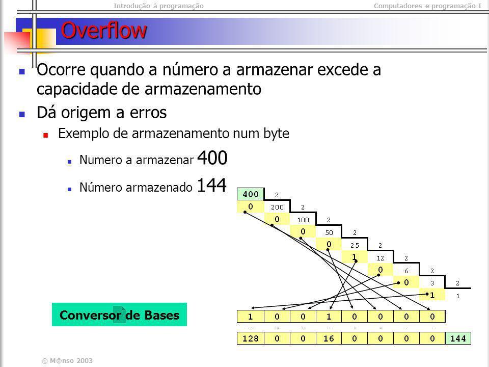 Overflow Ocorre quando a número a armazenar excede a capacidade de armazenamento. Dá origem a erros.