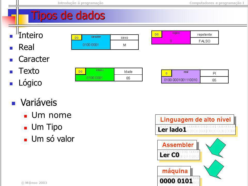 Tipos de dados Variáveis Inteiro Real Caracter Texto Lógico Um nome