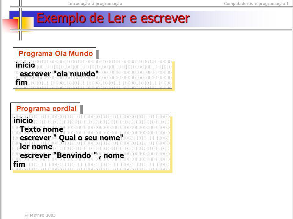 Exemplo de Ler e escrever