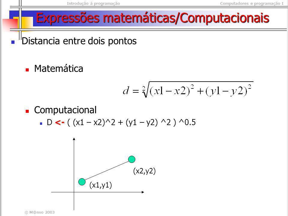 Expressões matemáticas/Computacionais
