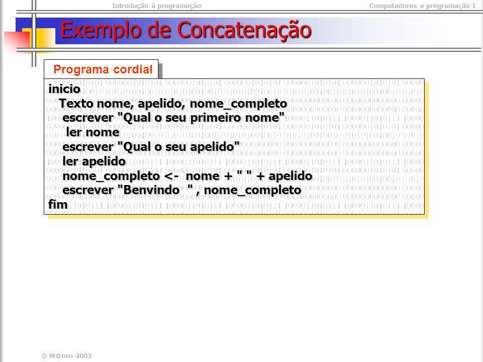 Exemplo de Concatenação