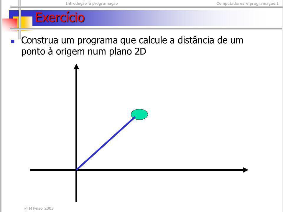 Exercício Construa um programa que calcule a distância de um ponto à origem num plano 2D