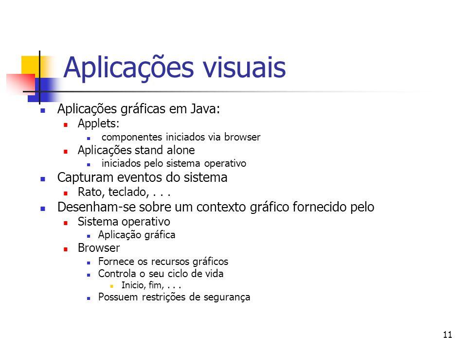 Aplicações visuais Aplicações gráficas em Java: