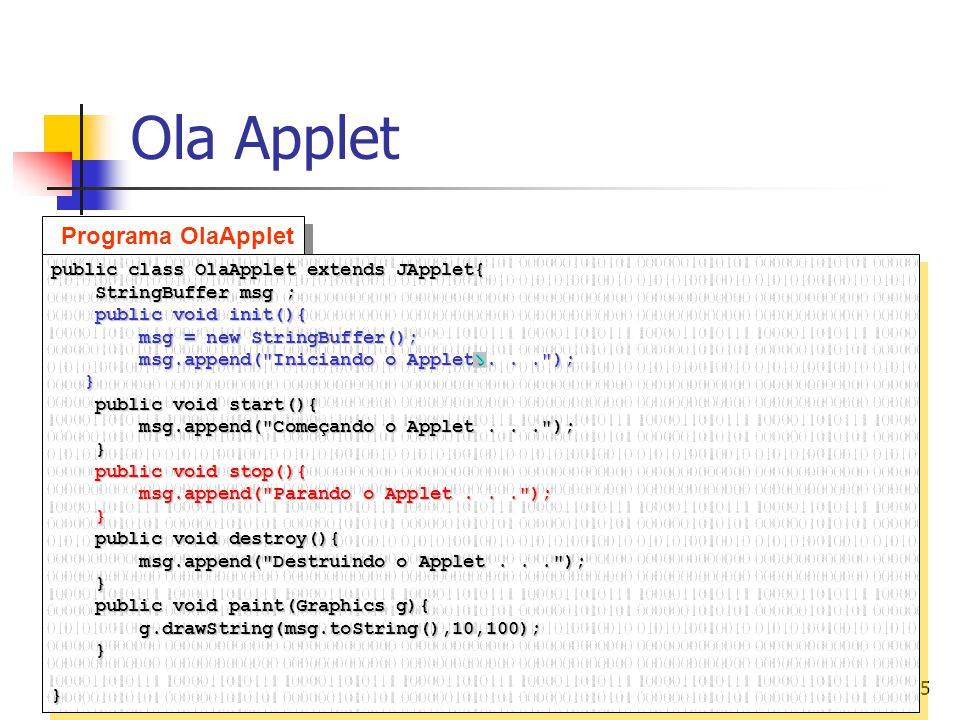 Ola Applet Programa OlaApplet public class OlaApplet extends JApplet{