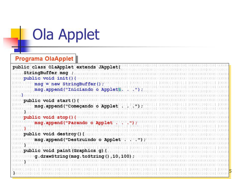 Ola Applet Programa OlaApplet public class OlaApplet extends JApplet{