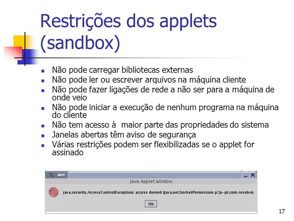 Restrições dos applets (sandbox)