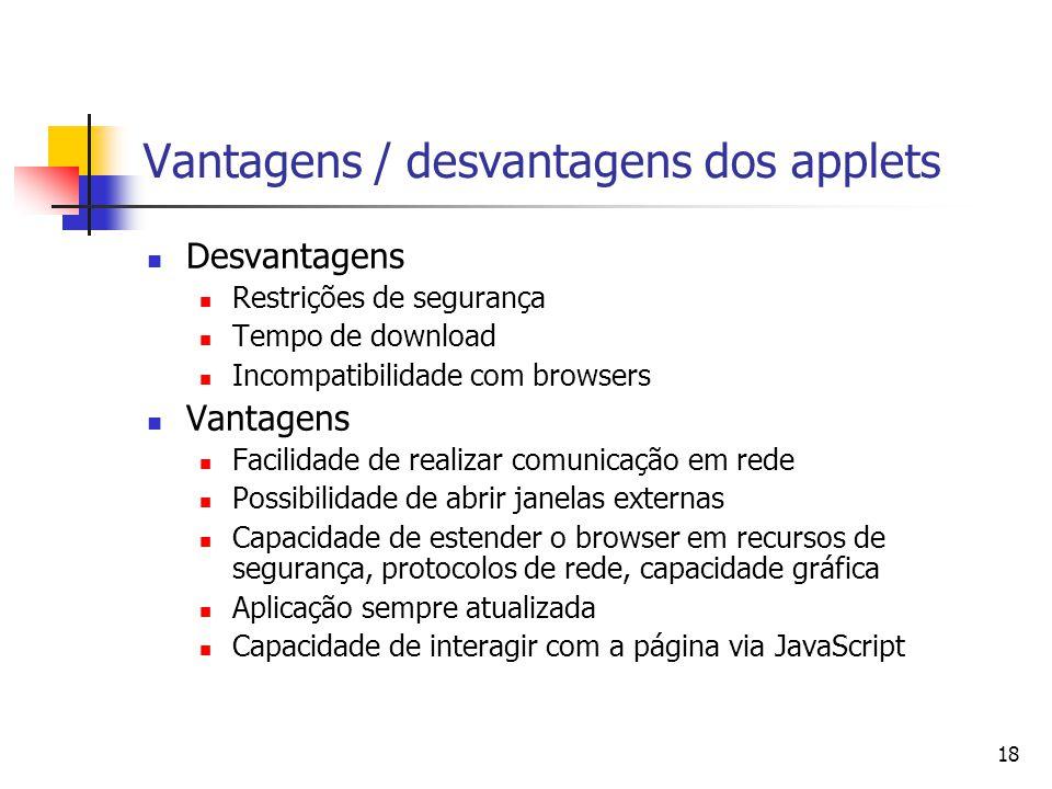 Vantagens / desvantagens dos applets
