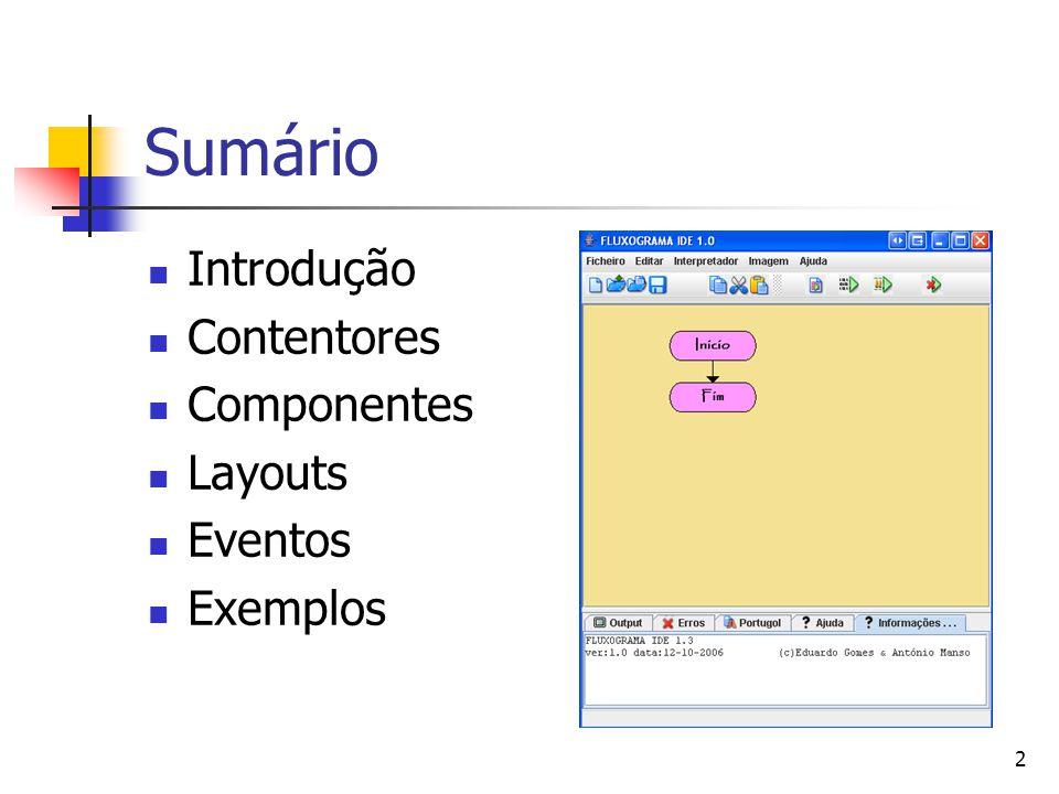 Sumário Introdução Contentores Componentes Layouts Eventos Exemplos