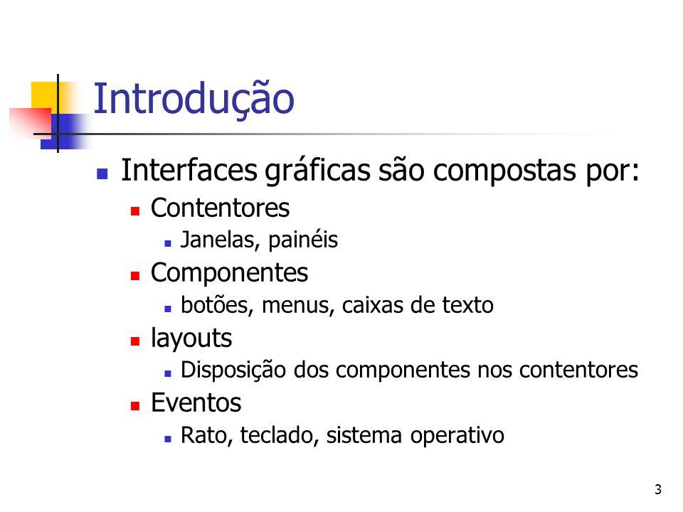 Introdução Interfaces gráficas são compostas por: Contentores