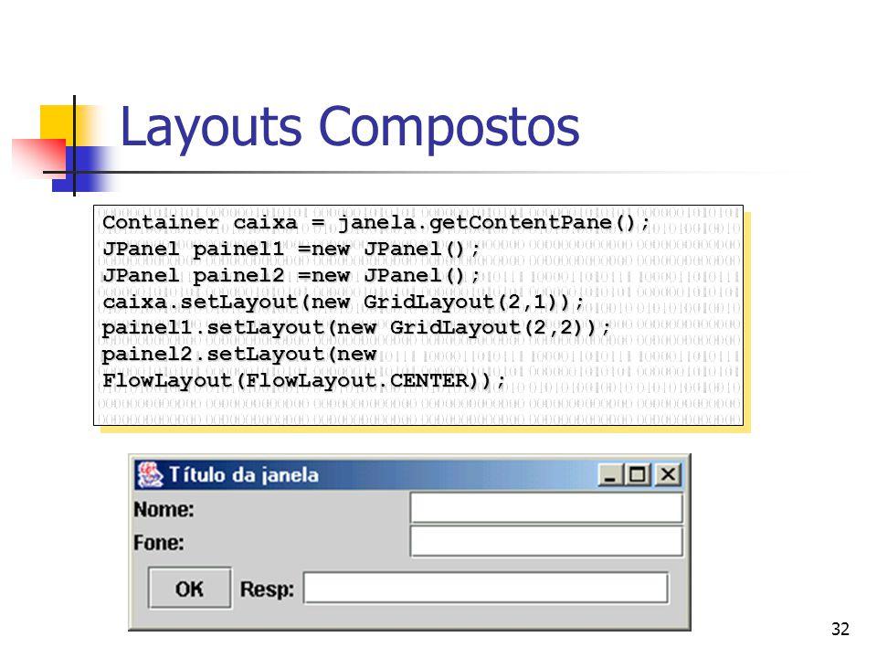 Layouts Compostos Container caixa = janela.getContentPane();