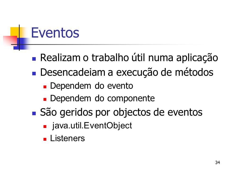 Eventos Realizam o trabalho útil numa aplicação
