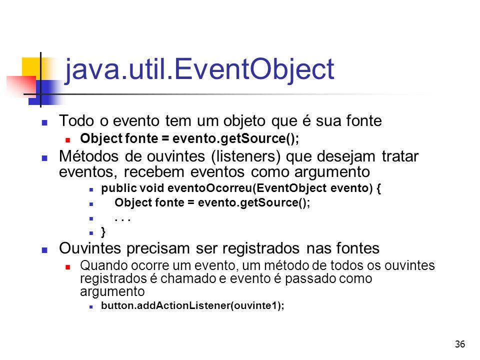 java.util.EventObject Todo o evento tem um objeto que é sua fonte