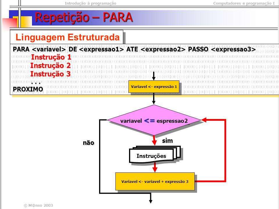 Repetição – PARA Linguagem Estruturada Instrução 2 Instrução 3