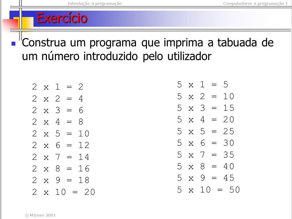 Exercício Construa um programa que imprima a tabuada de um número introduzido pelo utilizador. 5 x 1 = 5.